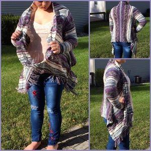 Sweaters - Purple Stripe Hi/Lo Fringe Blanket Cardigan! NEW!